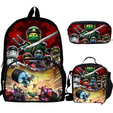 3PCS Cartoon Ninjago Backpack Boys Large Capacity Book Bag Casual Daypack  School Bag and Pencil Case Mochila Teenage Girls Bag|School Bags
