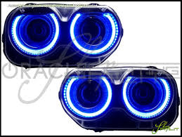 oracle 15 17 dodge challenger led dual color halo rings headlights bulbs