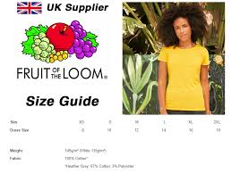 Fruit Of The Loom Lady Fit Size Chart Details About 3 Pack Of Womens Plain Fruit Of The Loom T Shirts Lady Fit Cheap All Colours Uk