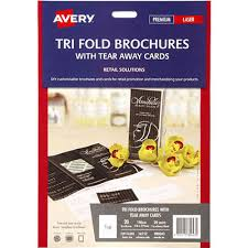 Avery Tri Fold Brochure Templates Avery 980043 16152 Trifold Brochure With Tear Away Cards
