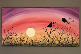 tall grass field sunset. Original Abstract Acrylic Painting On Canvas A Brand New Day Love Birds Tall Grass Field Sunrise Sunset Summer Yellow Pink Purple Branch Sun. T