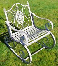 garden furniture wrought iron. Victorian Antique Grey Rocking Chair Wrought Iron Garden Rocker Patio Furniture