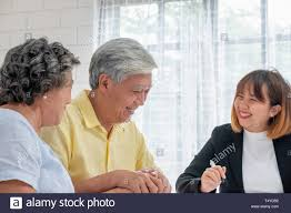 Financial Advisor Retirement Asian Senior Couple With Financial Advisor About Tax And