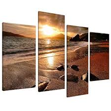 large golden brown sunset beach canvas wall art pictures multi panel artwork set of on amazon beach canvas wall art with amazon large golden brown sunset beach canvas wall art pictures
