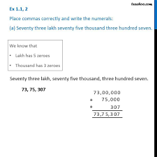 Ex 1 1 2 Place Commas Correctly And Write Numerals A