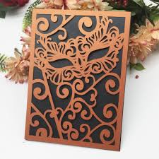 Halloween Invitations Cards 40pcs Lot 24 Colors Laser Cut Carved Mask Wedding