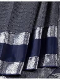<b>Stylish</b> Navy <b>Blue</b> Brick Style <b>Pattern</b> On Body Having Silver Zari Work