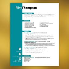 Resumes Teacher Resume Template 3 Pages Microsoft Word Teal Turquoise Cv Thompson