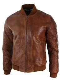 details about mens tan brown vintage real leather er pilot jacket
