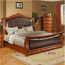 upholstered leather sleigh bed.  Leather Lifestyle 0243 CA King Size Upholstered Sleigh Bed Throughout Leather R