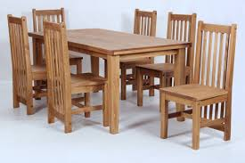 Salto Dining Table And Six Chairs Dining Set Rustic Solid Wood Wax
