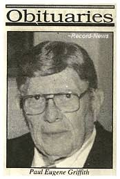 Ringgold County IAGenWeb Project ~ Paul Eugene Griffith obituary