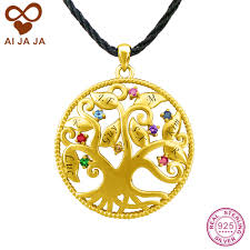 aijaja silver family tree necklace pendants customized family name engraved birthstones life tree mom pendants gold color aliexpress