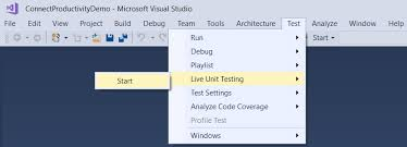 start test live unit testing in visual studio 2017 enterprise the visual