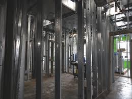 Interior metal framing Ceiling 2nd Floor Metal Framing Underway Building Buildipediacom December Update Highlights Building Envelope Exterior Brick Work