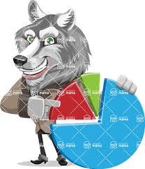 Husky Stock Chart Wolf Businessman Cartoon Vector Character Aka Wolf Wilder