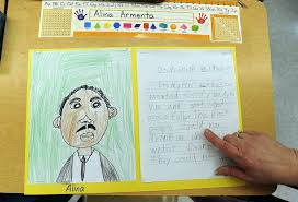 images suburban students remember martin luther king jr  alina armenta 6 did a drawing and essay in mrs ann caster s 1st