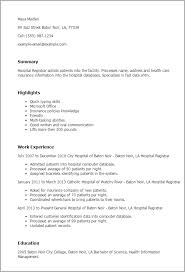 Resume Templates: Hospital Registrar