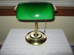 Antique Desk Lamp Green Glass Shade Antique Furniture Vintage Glass
