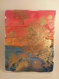 acrylic spray paint golden sunset stretched canvas diy handmade art