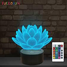 Details About Lotus Flower 3d Night Light Led 16 Color Changing Desk Lamp Kids Bedroom Decor
