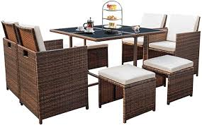 Devoko 9 Pieces Patio Dining Sets Outdoor Space ... - Amazon.com