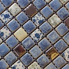 porcelain square silver and blue mosaic design snowflake style kitchen backsplash wall tiles adt112