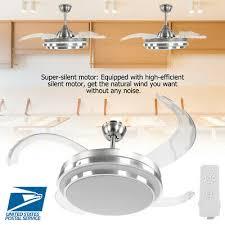 42 4 blades ceiling fan light retractable folding fan lamp remote control new