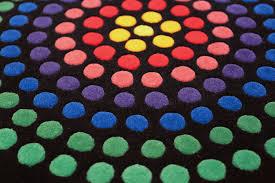vintage round scandinavian verner panton polka dot rug 49684 rows nazmiyal