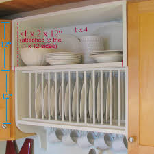 update builder grade kitchen cabinets with a plate rack cabinet and storage shelf and crown molding