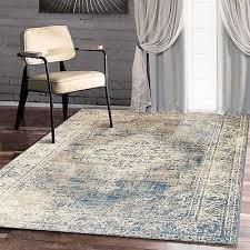 traditional vintage style persian rug design oriental faded blue carpet