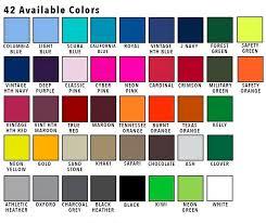 Hoodie Colour Chart Blank Hooded Sweatshirt Youth Medium