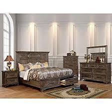 Amazon.com: 4pc Eastern King Size Bed Tall Panel Headboard Furniture ...