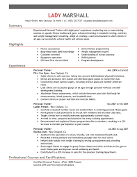 fitness and personal trainer resume example com personal trainer wellness emphasis summary hihglights experience
