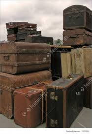 Amsterdam views: Old suitcases in Amsterdam harbor in Holland