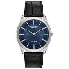 gents sti blue dial black leather strap eco drive watch