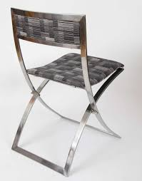 mid century modern six stainless steel 1960s folding dining chairs