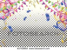 Vector Party Balloons Illustration Confetti And Ribbons