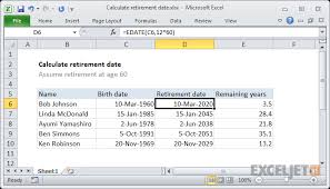 Excel Retirement Calculator Spreadsheet Excel Formula Calculate Retirement Date Exceljet