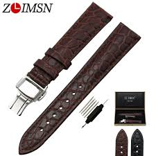 <b>ZLIMSN</b> Brown <b>Alligator</b> Grain <b>Genuine</b> Leather Watchband ...