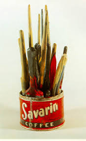 jasper johns savarin coffee can with paint brushes painted bronze 1960