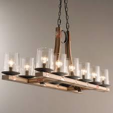 metal and wood chandelier. Pine Wood Beam Island Chandelier Stained_wood Metal And