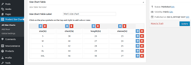 Button Size Chart Product Size Chart Plugin For Woocommerce