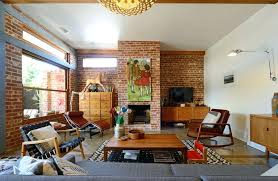 mid century fireplace painting brick fireplace for a living room with a red brick and mid