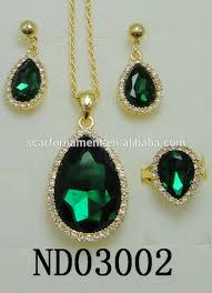 latest top design jodha akbar jewelry set big green stone mico pave crystal necklace and