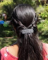 Oberon Design Hair Clips Hair Clip Barrette Celtic Peacock 70mm