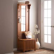 Coat Rack Bench With Mirror Delectable Amazon Wooden Entryway Tall Hall Tree Bench Coat And Hat Rack