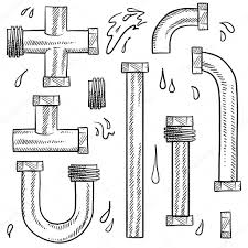 Doodle style water pipes sketch in vector format. Includes various pieces  of pipe to make your own design.  Vector by lhfgraphics