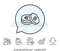 Coins Money Line Icon Banking Currency