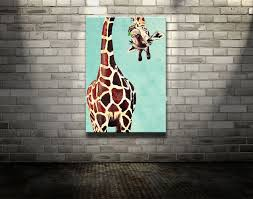 new handpainted modern animal oil painting on canvas giraffe art for home decoration or best gifts